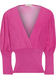 Emilio Pucci Woman Wrap-effect Metallic Crochet And Ribbed-knit Top Magenta