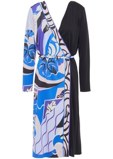 Emilio Pucci Woman Wrap-effect Paneled Printed Cady Dress Black