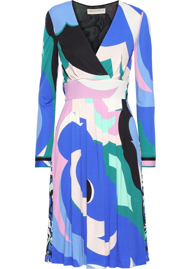 Emilio Pucci Woman Wrap-effect Pleated Printed Jersey Dress Blue