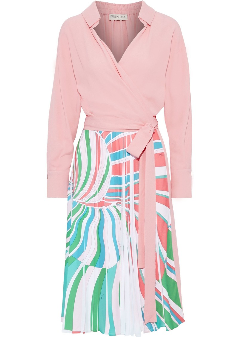 Emilio Pucci Woman Wrap-effect Pleated Printed Silk-blend Crepe Dress Baby Pink