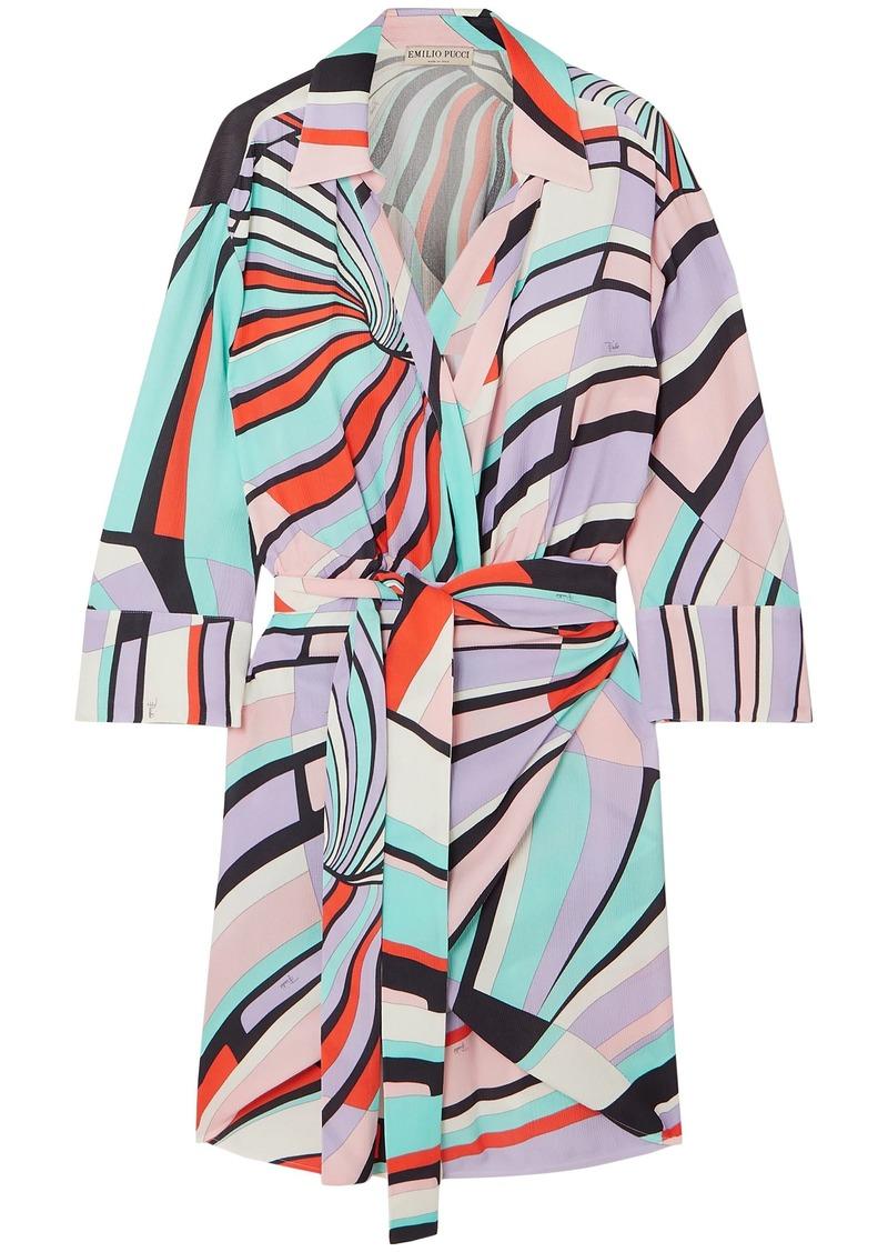 Emilio Pucci Woman Wrap-effect Printed Crinkled-crepe Mini Dress Multicolor