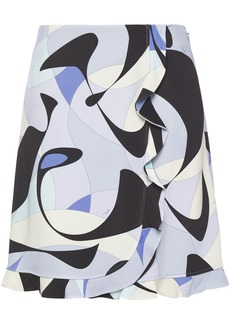 Emilio Pucci Woman Wrap-effect Printed Stretch-jersey Mini Skirt Black