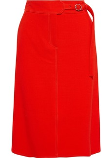 Emilio Pucci Woman Wrap-effect Wool-crepe Skirt Tomato Red