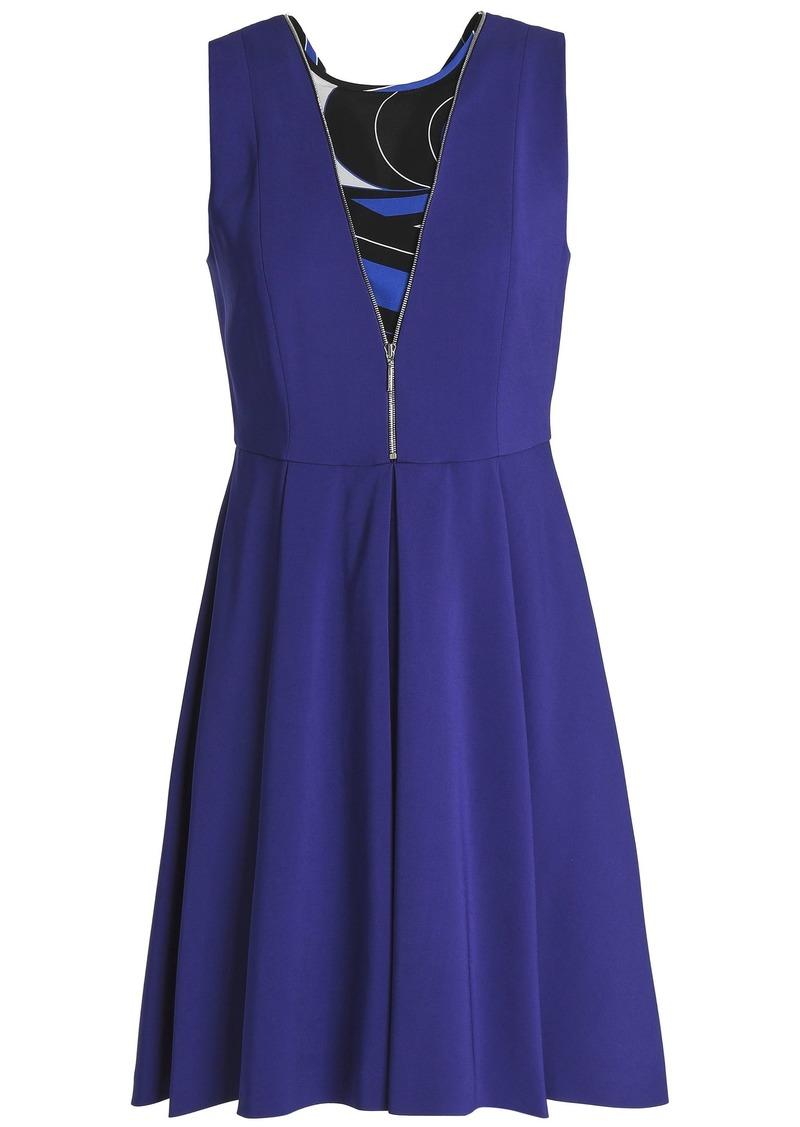 Emilio Pucci Woman Zip-detailed Printed Georgette-paneled Crepe Mini Dress Royal Blue