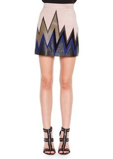 Emilio Pucci Zigzag Leather Mini Skirt