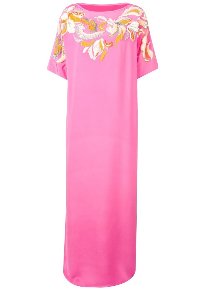 Emilio Pucci Floral Embroidered Silk Kaftan Dress