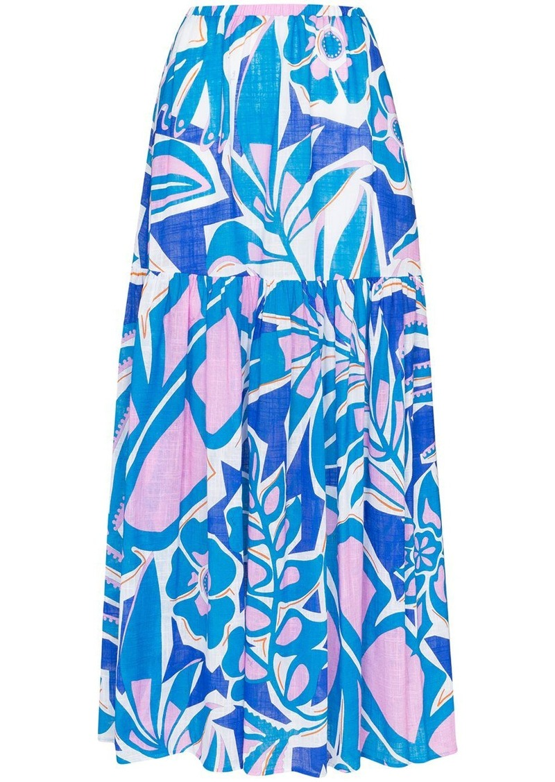 Emilio Pucci floral print tiered maxi skirt