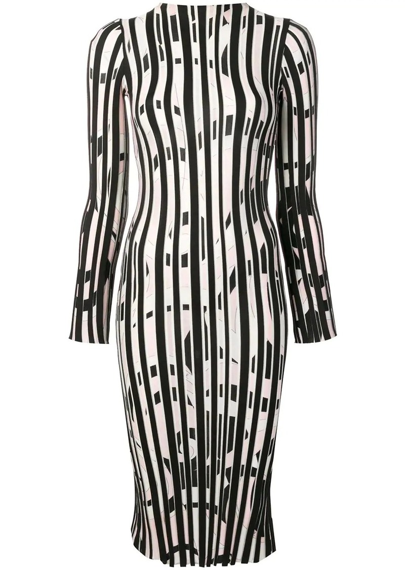 Emilio Pucci Fortuna Intarsia Striped Wool Midi Dress