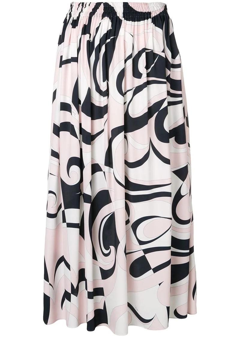 Emilio Pucci Fortuna Print Midi Skirt