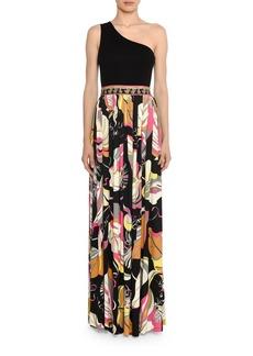 Emilio Pucci Friday One-Shoulder Floral-Skirt Column Skirt