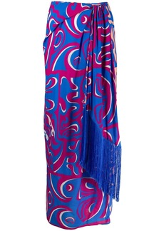 Emilio Pucci fringed detailed printed skirt