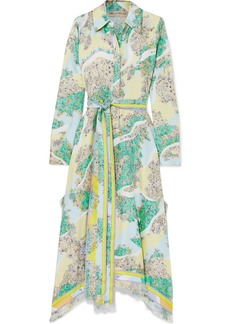 Emilio Pucci Fringed Printed Silk-twill Midi Dress