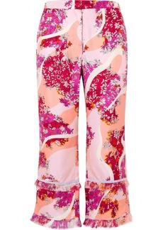 Emilio Pucci Fringed Printed Silk-twill Wide-leg Pants