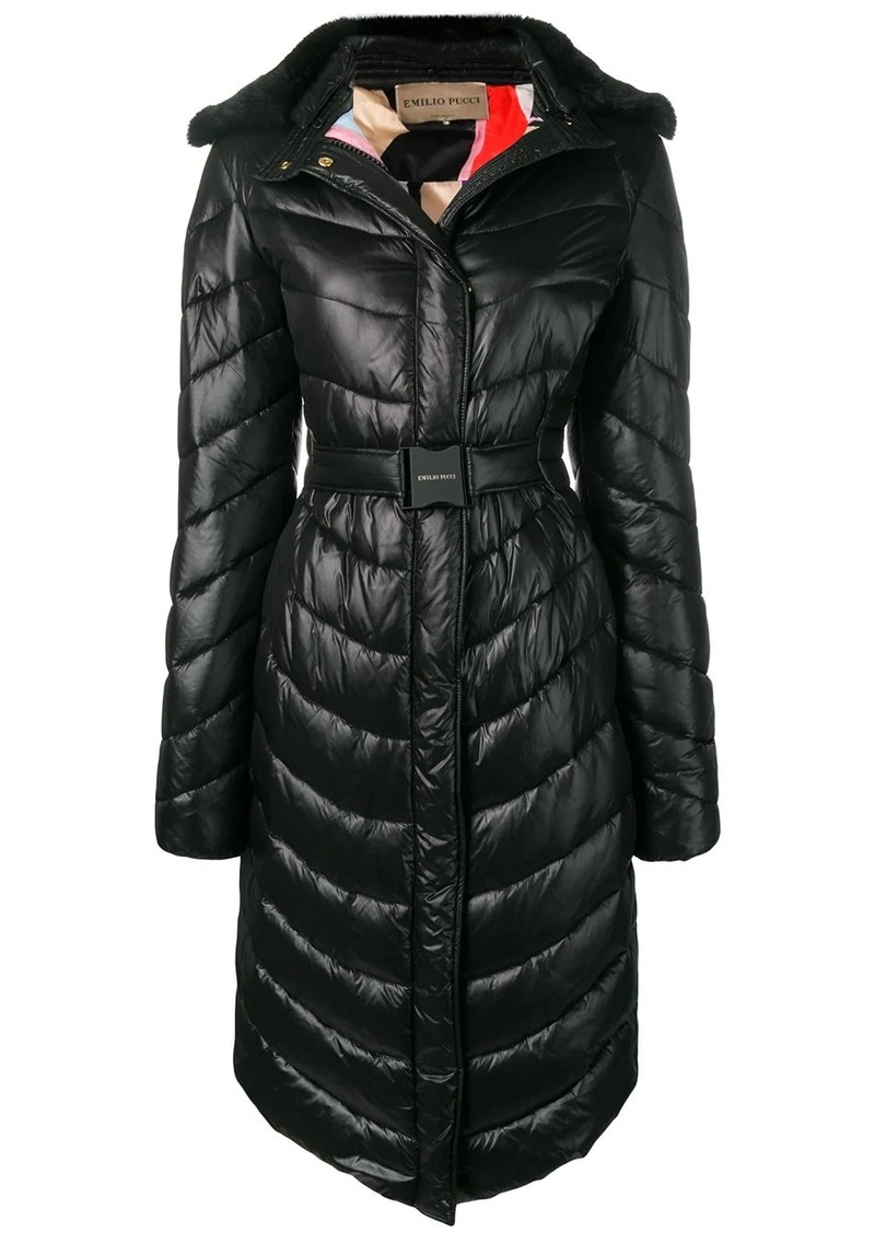 Emilio Pucci Fur Collar Quilted Coat