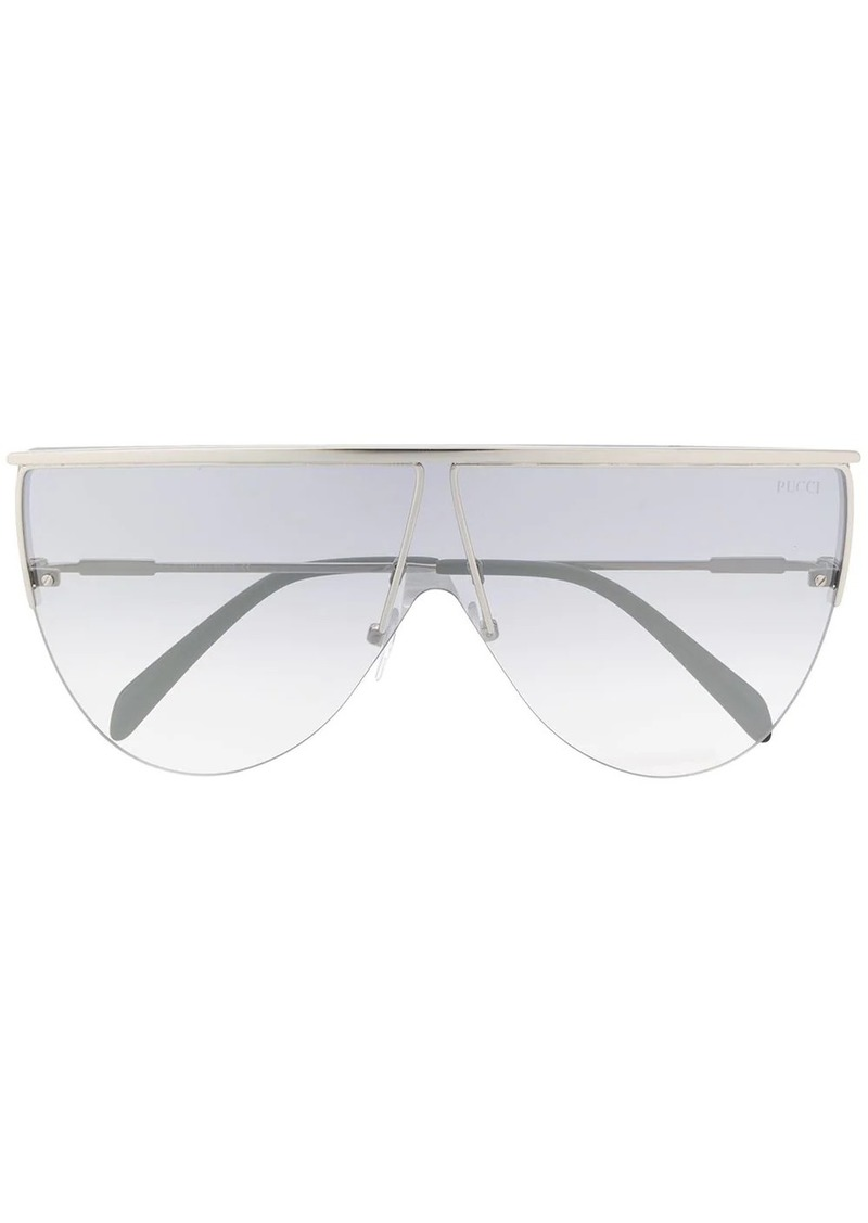 Emilio Pucci geometric shield curved sunglasses