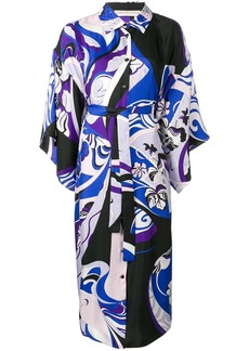 Emilio Pucci Hanami Print Beaded Collar Kimono Dress