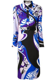 Emilio Pucci Hanami Print Belted Shirt Dress