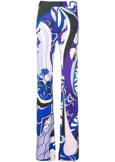 Emilio Pucci Hanami Print Flared Trousers