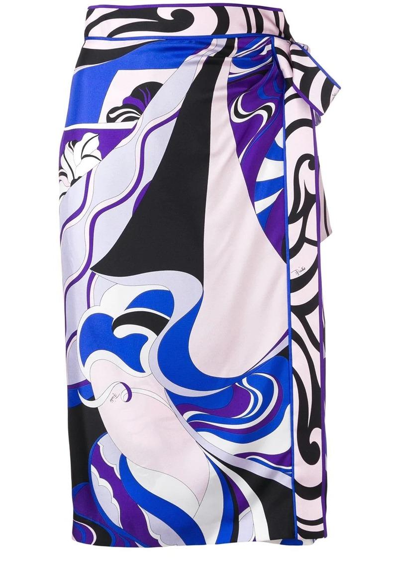 Emilio Pucci Hanami Print Silk Wrap Skirt