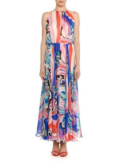 Emilio Pucci High-Neck Sapphire Silk Maxi Dress