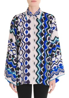 Emilio Pucci Kimono-Sleeve Silk Blouse