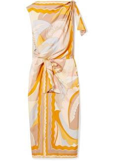 Emilio Pucci Knotted Printed Silk-twill Midi Dress