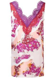 Emilio Pucci lace trimming floral blouse
