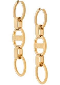 Emilio Pucci Logo Engraved Chain Drop Earrings