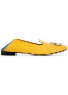 Emilio Pucci Yellow and Blue Lizard Effect Logo Loafers