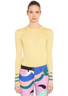 Emilio Pucci Logo Viscose Rib Knit Sweater