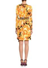 Emilio Pucci Long-Sleeve Hydrangea-Print Silk-Blend Wrap Dress
