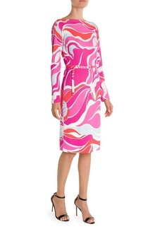 Emilio Pucci Marilyn Print Jersey Belted Dress