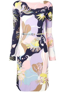 Emilio Pucci Mirabilis Print Belted Dress