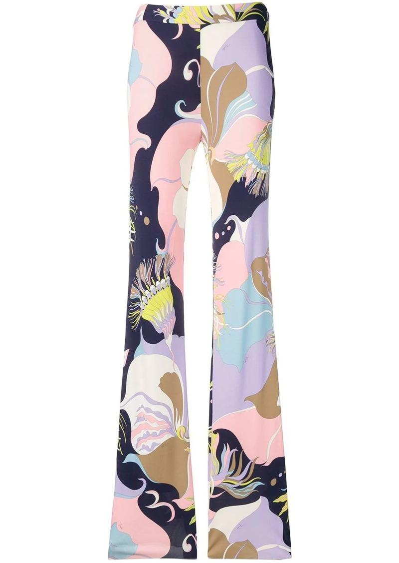 Emilio Pucci Mirabilis Print Flared Trousers