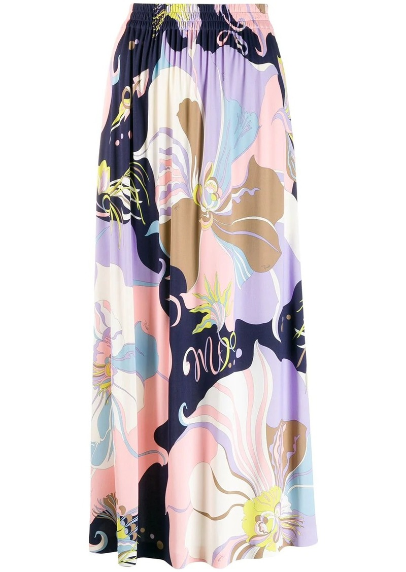 Emilio Pucci Mirabilis Print Gathered Midi Skirt