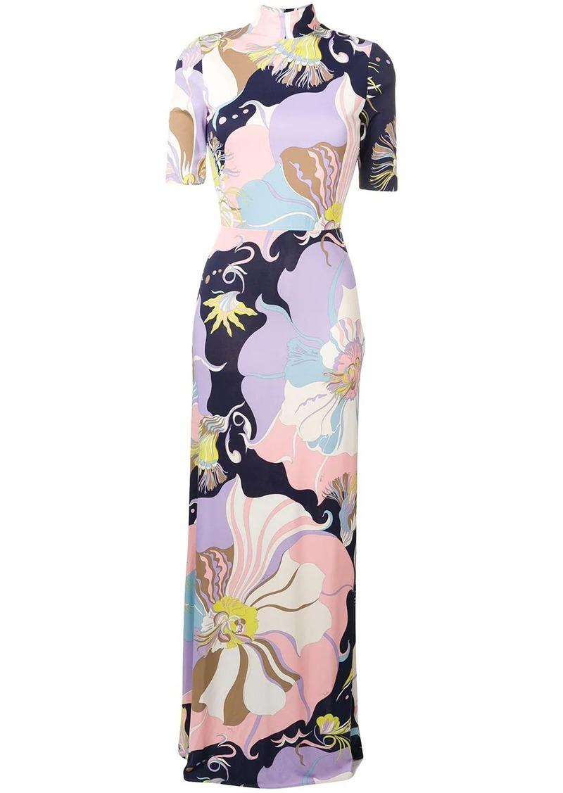 Emilio Pucci Mirabilis Print High Neck Maxi Dress