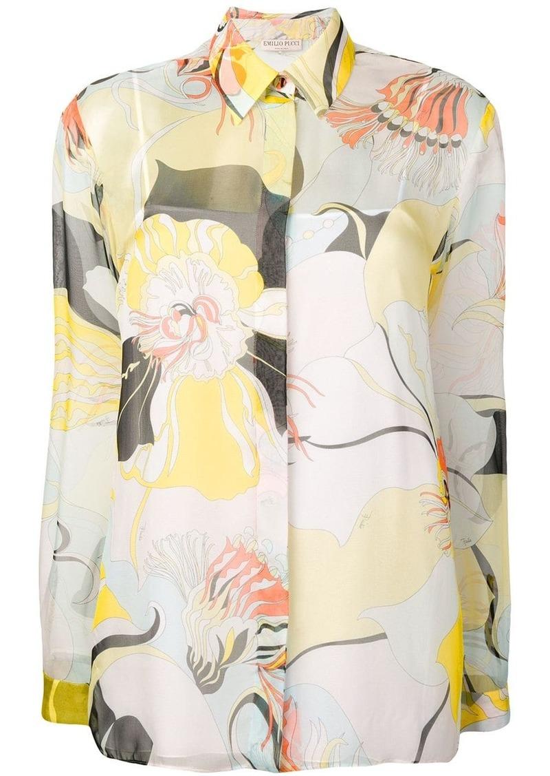 Emilio Pucci Mirabilis Print Silk-Chiffon Shirt