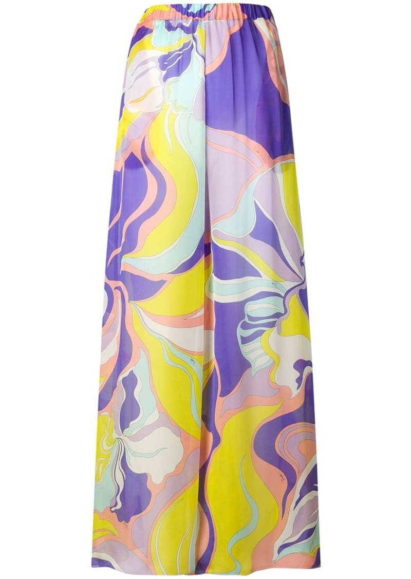Emilio Pucci Mirabilis Print Silk Trousers