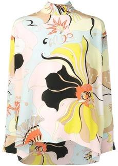 Emilio Pucci Mirabilis Print Tie-neck Silk Top