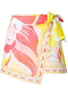 Emilio Pucci Mirabilis Print Wrap Front Shorts