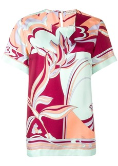 Emilio Pucci Mirei Print Silk Short Sleeved Top