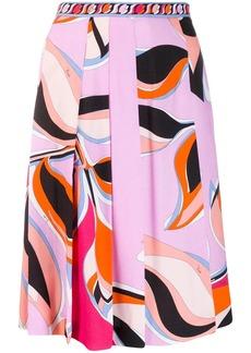 Emilio Pucci multicoloured print pleated midi skirt