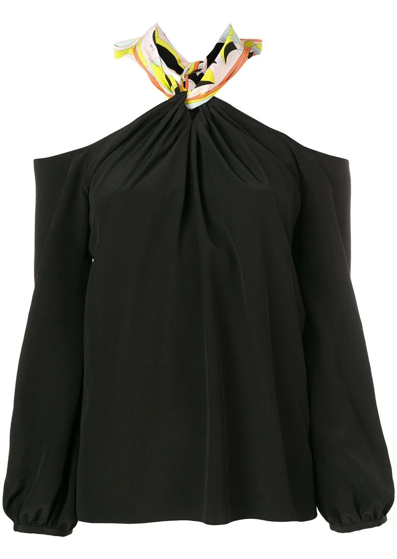 Emilio Pucci Off-Shoulder Tie-Neck Silk Top