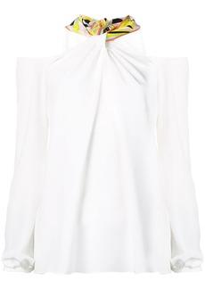 Emilio Pucci Off-Shoulder Tie-Neck Silk Top