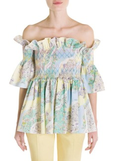 Emilio Pucci Off-The-Shoulder Smocked Top