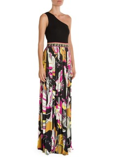 Emilio Pucci One-Shoulder Printed Gown