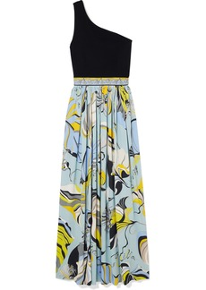 Emilio Pucci One-shoulder Stretch-knit And Printed Crepe Maxi Dress