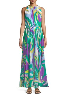 Emilio Pucci Parrot-Print Silk Coverup Maxi Halter Dress