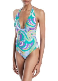 Emilio Pucci Parrot Printed Halter One-Piece Swimsuit