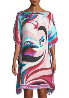 Emilio Pucci Parrot Printed Silk Twill Kaftan Coverup